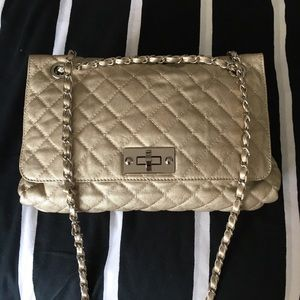 Browns quilted light champagne gold bag